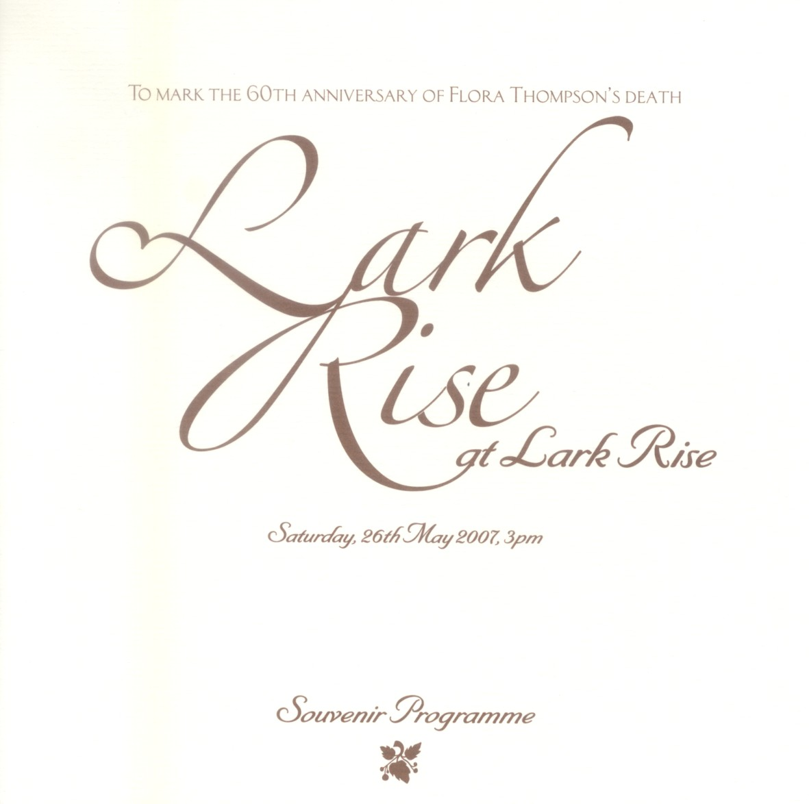 Cover of Lark Rise programme